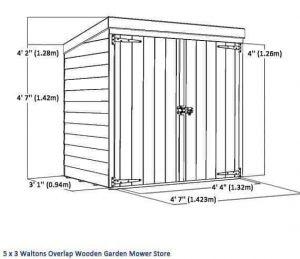 5x3 Waltons Overlap Wooden Garden Mower Store Overall Dimensions