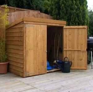 5x3 Waltons Overlap Wooden Garden Mower Store Single Door Open