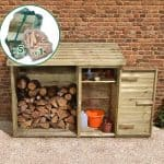 6' x 2' Store-Plus Large Log Store Tool Shed including Firewood Pack Front View