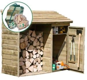 6' x 2' Store-Plus Large Log Store Tool Shed including Firewood Pack Right Side View
