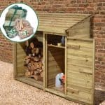 6' x 2' Store-Plus Large Log Store Tool Shed including Firewood Pack Side View