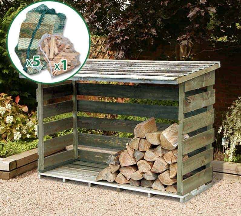6' x 2' Store-Plus Large Log Store including Firewood Pack