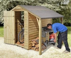 6' x 4' Shed-Plus Pressure Treated Shed with Log Store Canopy