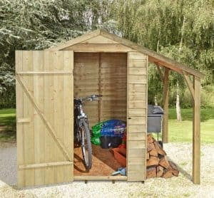 6' x 4' Shed-Plus Pressure Treated Shed with Log Store Canopy Single Open Door