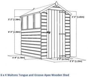 6 x 4 Tongue & Groove OSB Sustainable Code Compliant Overall Dimensions