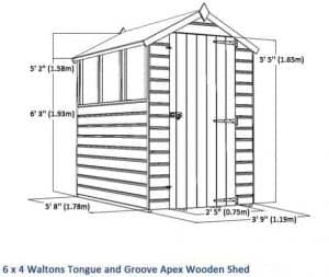 6 x 4 Tongue & Groove OSB Windowless Shed Sustainable Homes Compliant Overall Dimensions
