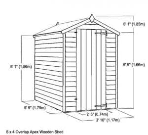 6 x 4 Waltons Overlap Apex Wooden Shed Overall Dimensions