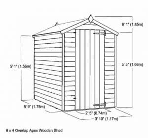 6 x 4 Waltons Windowless Overlap Apex Wooden Shed Overall Dimensions