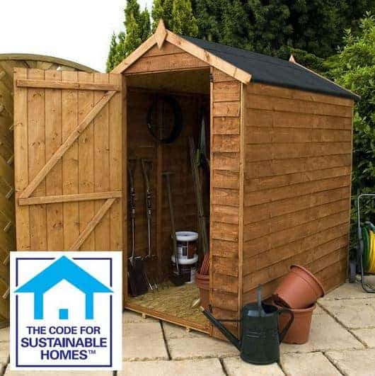 6 x 4 Windowless Overlap Apex Shed Sustainable Code Compliant
