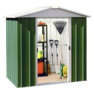 6' x 5' Yardmaster Green Metal Shed 65GEYZ Double Sliding Door Open
