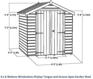 6 x 6 Waltons Windowless Shiplap Tongue and Groove Apex Garden Shed Overall Dimensions