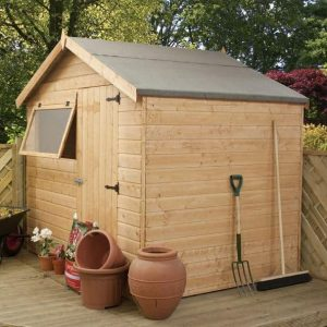 6 x 8 Waltons Tongue and Groove Reverse Apex Garden Shed Overall View