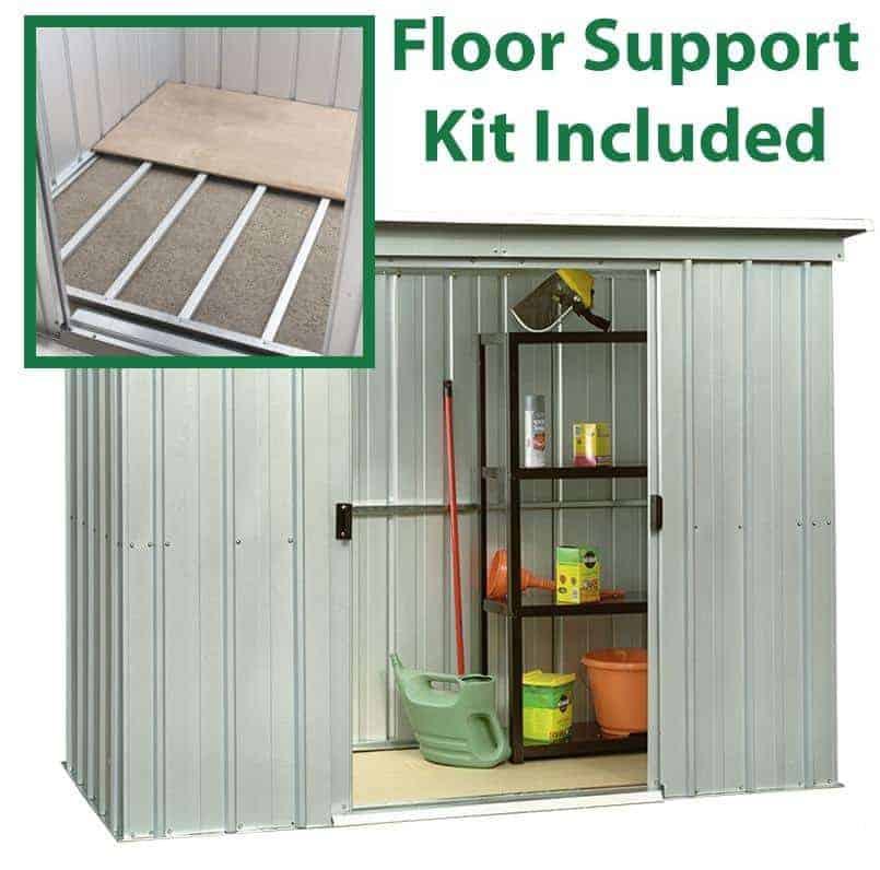 6'6 x 3'11 Yardmaster Pent Metal Shed 64PZ With Floor Support Kit