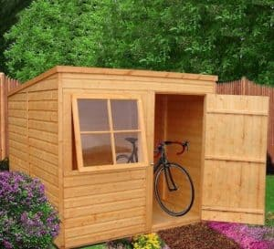 6'7 x 7' Shire Shiplap Pent Shed Open Door and Window
