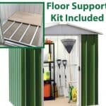 6'8 x 4'6 Yardmaster Green Metal Shed 65GEYZ+ With Floor Support Kit Included