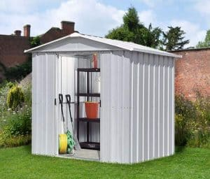 6'8 x 4'6 Yardmaster Silver Metal Shed 65ZGEY+ With Floor Support Kit