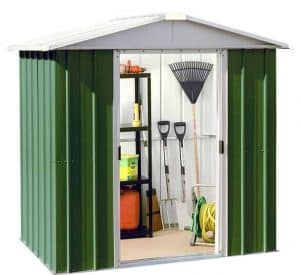 6'8 x 6'6' Yardmaster Green Metal Shed 66GEYZ Wide Door Open