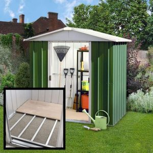 6'8 x 6'6 Yardmaster Green Metal Shed 66GEYZ+ With Floor Support Kit 1