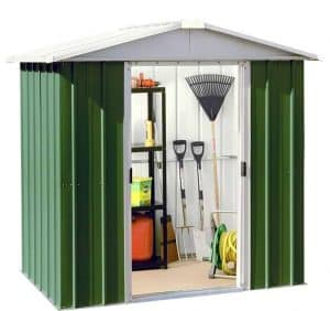 6'8 x 6'6 Yardmaster Green Metal Shed 66GEYZ+ With Floor Support Kit Open Door