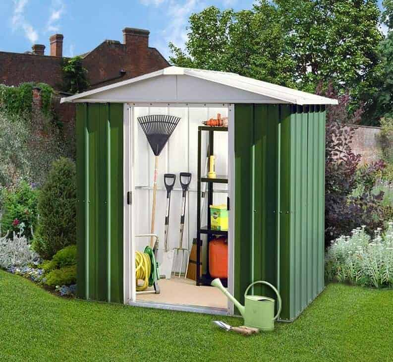 6'8 x 6'6 Yardmaster Green Metal Shed 66GEYZ+ With Floor Support Kit