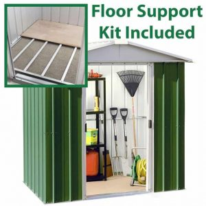 6'8 x7'2 Yardmaster Green Metal Shed 67GEYZ+ With Floor Support Kit Included
