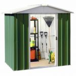 6'8 x7'2 Yardmaster Green Metal Shed 67GEYZ+ With Floor Support Kit Overall View