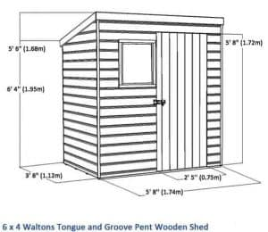 6x4 Waltons Tongue and Groove Pent Wooden Shed Overall Dimensions