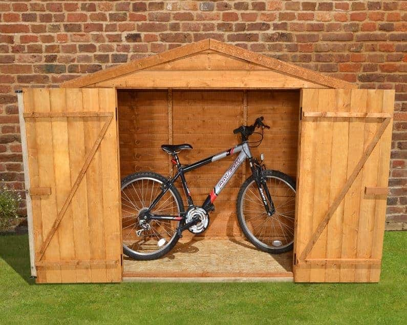 7 x 3 store plus overlap bike shed front view - Garden Sheds 7 X 3