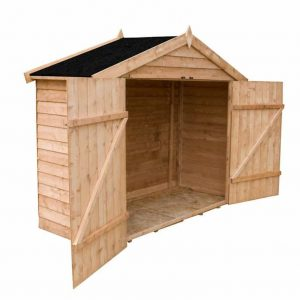 7' x 3' Windsor Overlap Wooden Bike Store Shed Side and Empty Internal View