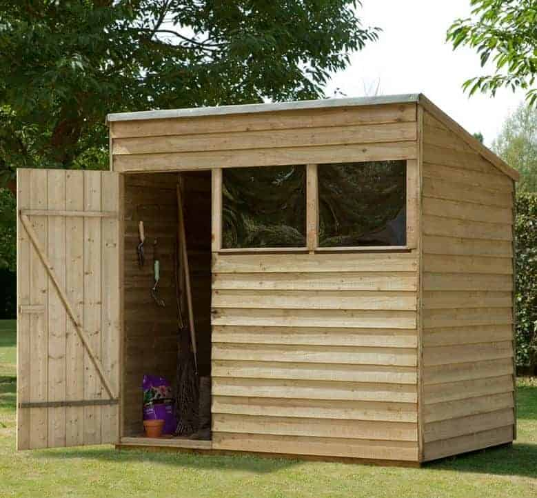 7 x 5 shed plus pressure treated overlap pent shed single door open