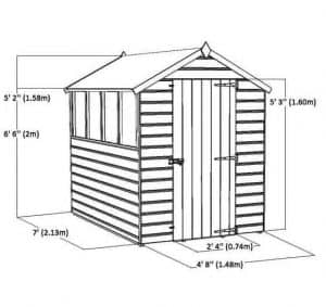 7 x 5 Tongue & Groove Windowless Apex Shed Sustainable Homes Compliant Overall Dimensions