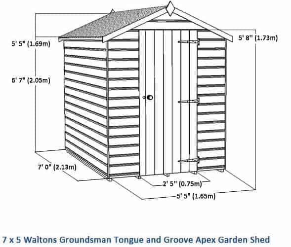 7 x 5 waltons groundsman tongue and groove apex garden shed overall dimensions