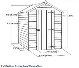 7 x 5 Waltons Windowless Overlap Apex Wooden Shed Overall Dimensions
