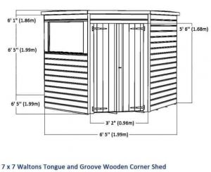7 x 7 Waltons Tongue and Groove Wooden Corner Shed Overall Dimensions
