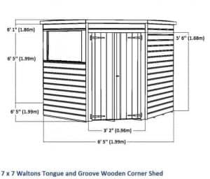 7 x 7 Waltons Windowless Tongue and Groove Wooden Corner Shed Overall Dimensions