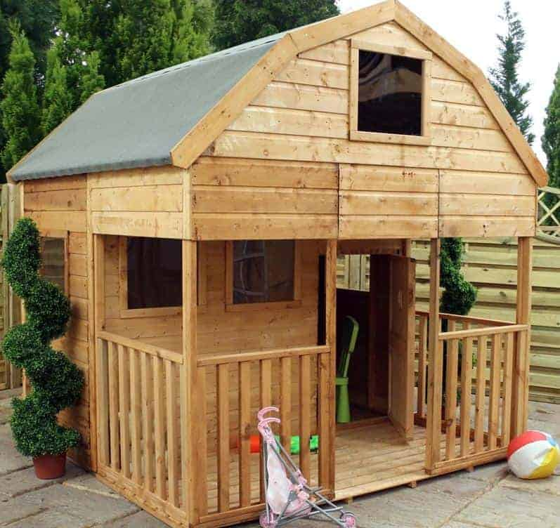 7 x 7 windsor double storey dutch barn playhouse with veranda - Garden Sheds With Veranda