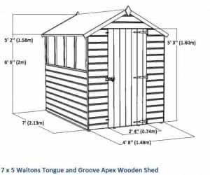 7 x5 Waltons Tongue And Groove Apex Garden Shed Overall Dimension