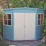 7'1 x 7'1 Shire Shiplap Corner Shed Blue Paint