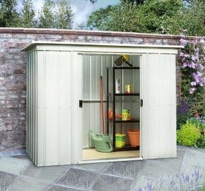 7'10 x 3'11 Yardmaster Pent Metal Shed 84PZ+ With Floor Support Kit Wide Frontage