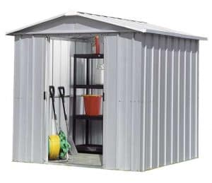 7'10 x 6'8 Yardmaster Silver Metal Shed 68ZGEY+ With Floor Support Kit Double Open Door