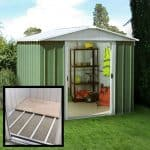 7'11 x 7'2 Yardmaster Green Metal Shed 87GEYZ+ With Floor Support Kit