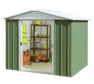 7'11 x 7'2 Yardmaster Green Metal Shed 87GEYZ+ With Floor Support Kit Double Sliding Door Open