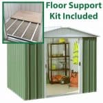 7'11 x 7'2 Yardmaster Green Metal Shed 87GEYZ+ With Floor Support Kit Included
