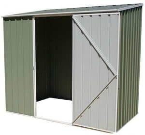 7'5 x 2'7 Absco Easy Store 2PE Green Metal Shed Empty Inside