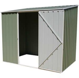 7'5 x 5' Absco Storemaster 2PE Green Metal Shed Open and Empty