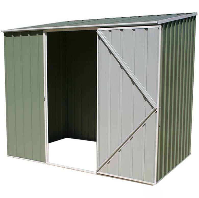 7u00275 X 5u0027 Absco Storemaster 2PE Green Metal Shed Open And Empty