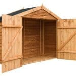 7x3 Waltons Overlap Apex Wooden Bike Shed Open Door Empty