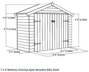 7x3 Waltons Overlap Apex Wooden Bike Shed Overall Dimensions