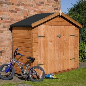 7x3 Waltons Tongue and Groove Apex Wooden Bike Shed Double Door Closed