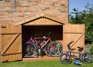 7x3 Waltons Tongue and Groove Apex Wooden Bike Shed Double Door Open